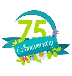 Cute nature flower template 75 years anniversary vector