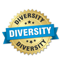 diversity round isolated gold badge vector image vector image