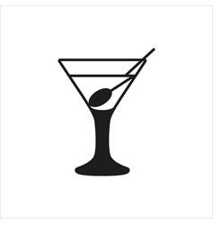 Empty transparent martini glass cup vector