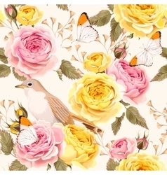 English roses and birds seamless vector image vector image