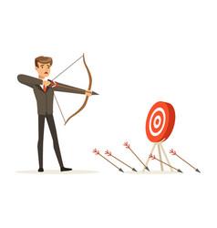 Faiiled businessman with bow and arrow is aiming vector