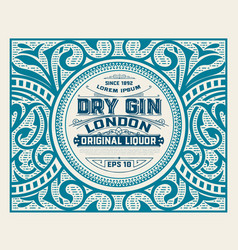 Gin label with floral ornaments vector