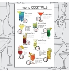 Hand drawn cocktails menu for cafe bar template vector