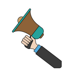 Hand holding speaker loud marketing business vector