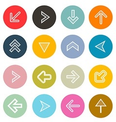 Hatched Arrows Set in Colorful Circles vector image