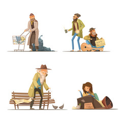 Homeless people compositions vector