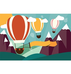 Hot air balloons flying over mountains with banner vector image vector image