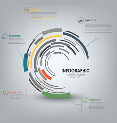 Info graphic with abstract technical design round vector