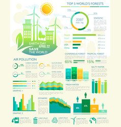 Infographics for earth day eco environment vector