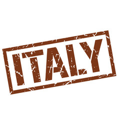 Italy brown square stamp vector