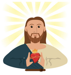 Jesus christ sacred heart spiritual symbol vector