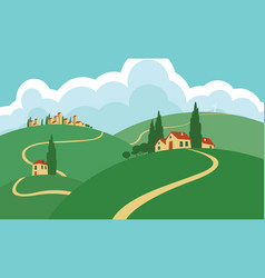 Landscape with hills roads sky and settlements vector