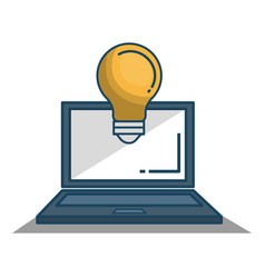 Laptop computer with bulb isolated icon vector