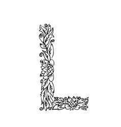 letters floral l vector image vector image