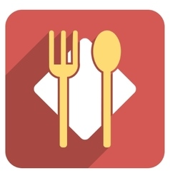 Nutrition Flat Rounded Square Icon with Long vector image