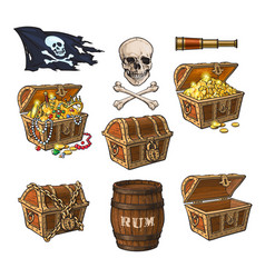 Pirate objects treasure chests flag rum barrel vector