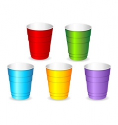 plastic party cup set vector image vector image