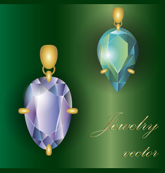 precious stones jewelry in a frame eps 10 vector image
