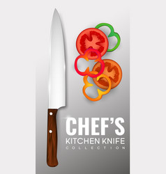 realistic chef knife poster vector image