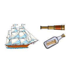 Sailing ship telescope message in bottle vector