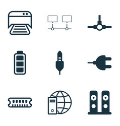 set of 9 computer hardware icons includes network vector image