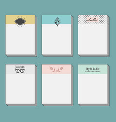 Set of note cards template set on blue background vector