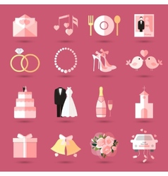 Set of wedding icons in flat style vector