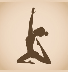silhouette woman pose yoga vector image