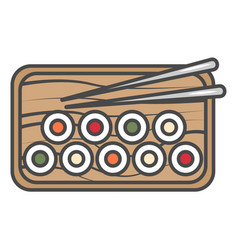 Sushi set on plate icon vector