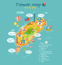 taiwan map with sightseeing taipei chiang kai-shek vector image