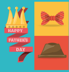 tie bow hat and ribbon with fathers day vector image
