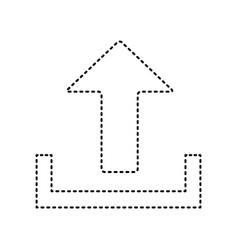 Upload sign black dashed vector