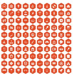 100 entertainment icons hexagon orange vector