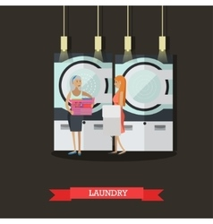 People in self-service laundry poster room vector