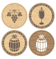 Wood barrels with wine logo vector