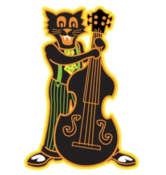 Cat playing bass vector