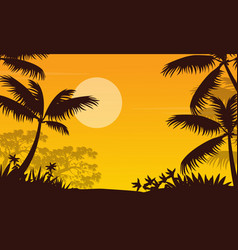 at sunset jungle landscape with palm silhouette vector image