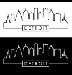 Detroit skyline linear style vector