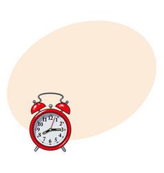 Retro style red analog alarm clock sketch vector