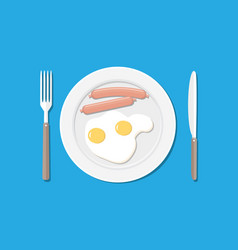 Plate fork and knife eggs and sausages vector