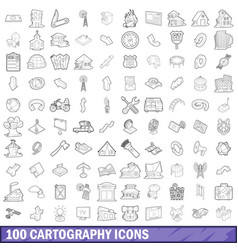 100 cartography icons set outline style vector