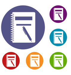 closed spiral notebook and pen icons set vector image