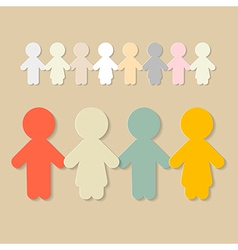 Paper people holding hands vector