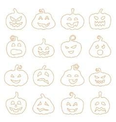 Halloween decorating Jack-o-Lantern silhouette set vector image