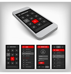 3d visualization of black and red ui vector