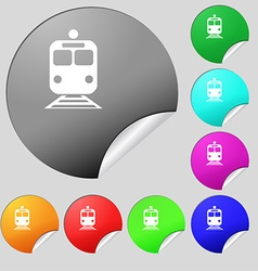 Train icon sign set of eight multi colored round vector