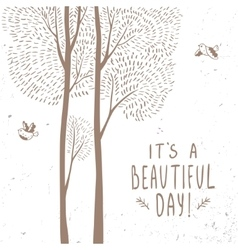 trees beautiful card vector image