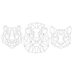 Front view of animal head triangular icon vector
