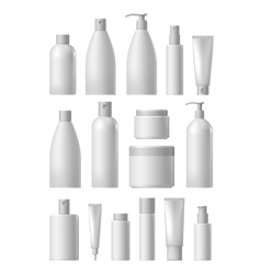 Blank cosmetic package collection set vector