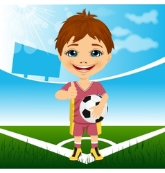 Young cute boy with soccer ball vector